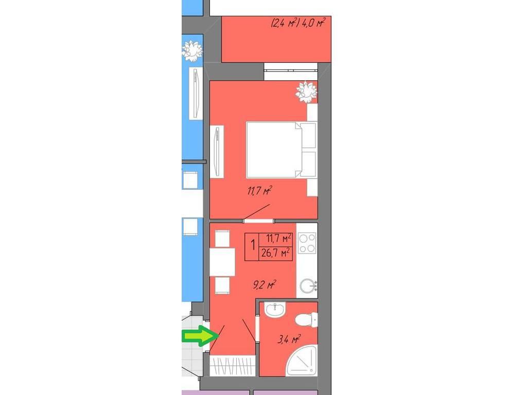 1-комнатная квартира, 29.00 м2, 22500 у.е.