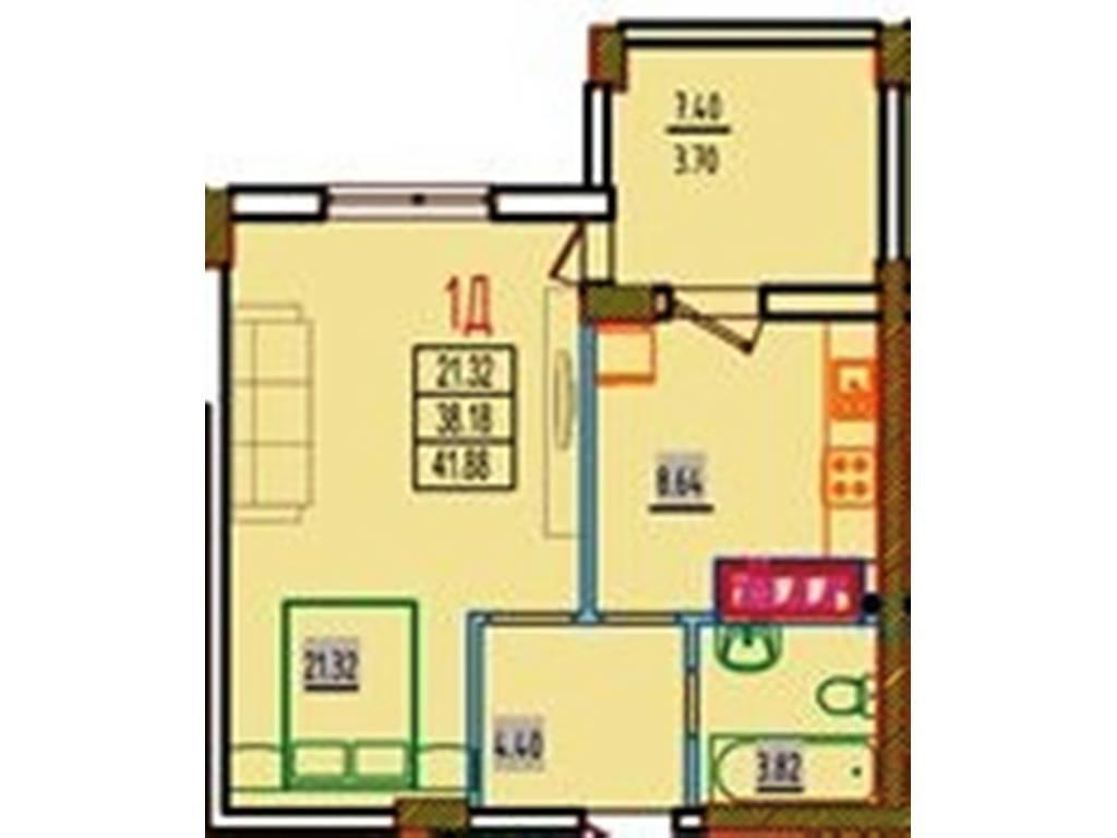 1-комнатная квартира, 42.85 м2, 29138 у.е.
