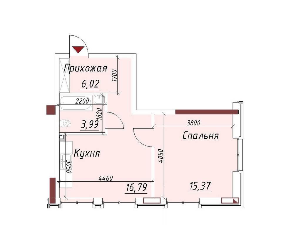 1-комнатная квартира, 42.17 м2, 34369 у.е.