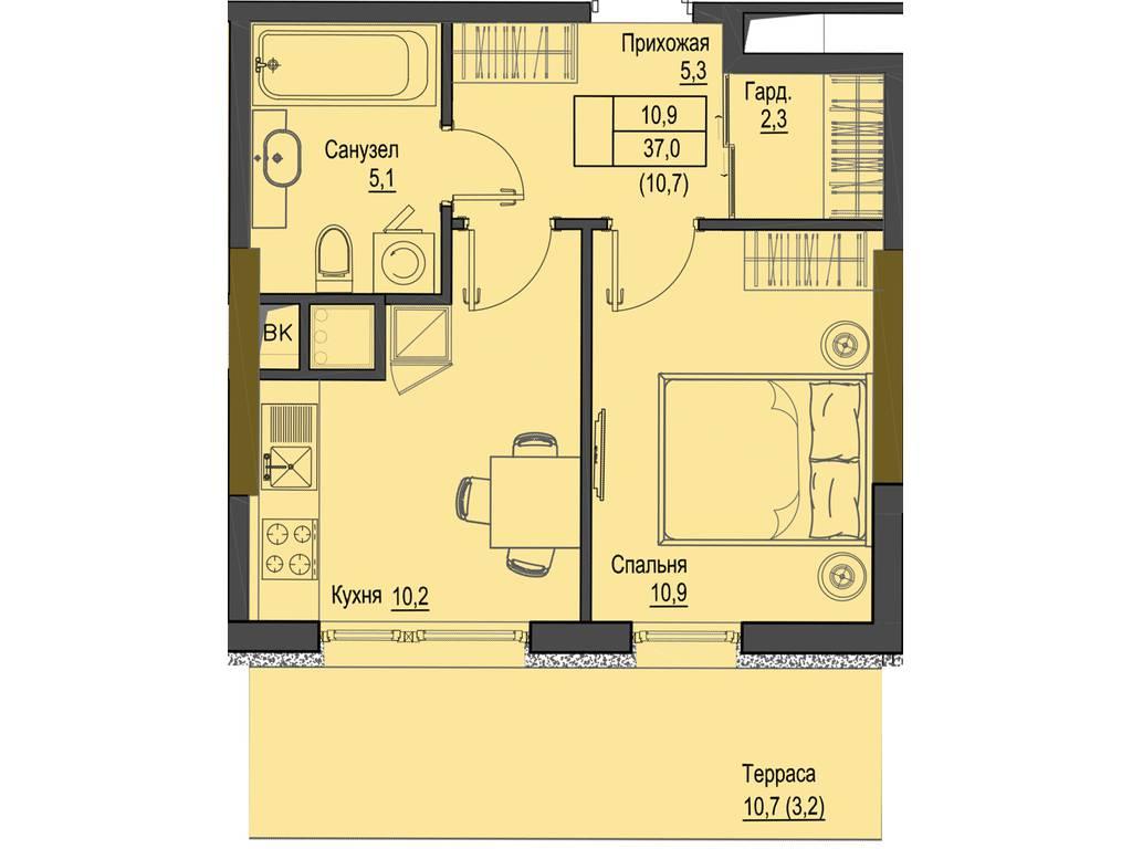 1-комнатная квартира, 37.00 м2, 74000 у.е.
