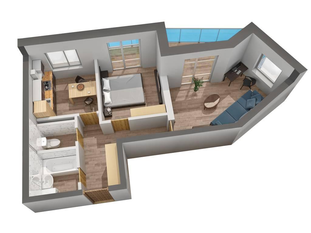 2-комнатная квартира, 53.93 м2, 33437 у.е.