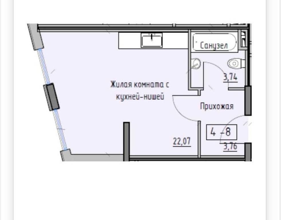 1-комнатная квартира, 22.00 м2, 26000 у.е.