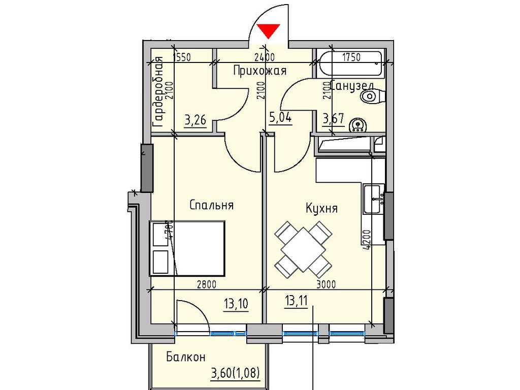 1-комнатная квартира, 39.26 м2, 37101 у.е.