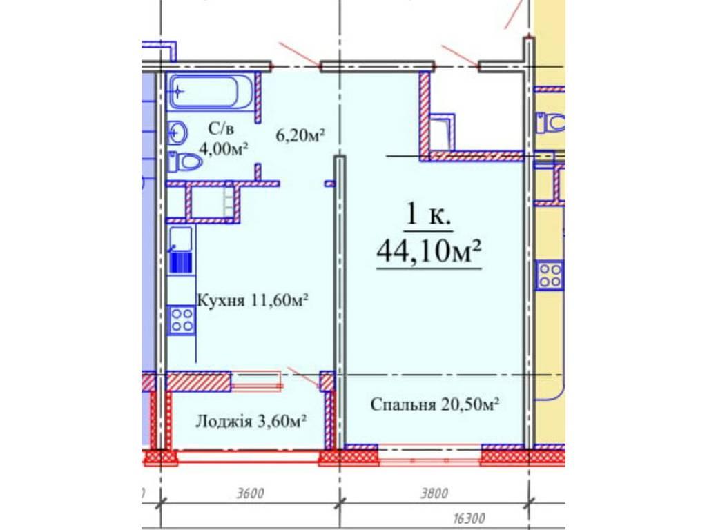 1-комнатная квартира, 44.10 м2, 42000 у.е.