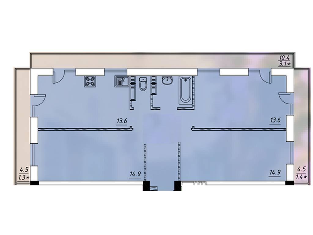 3-комнатная квартира, 72.90 м2, 59910 у.е.