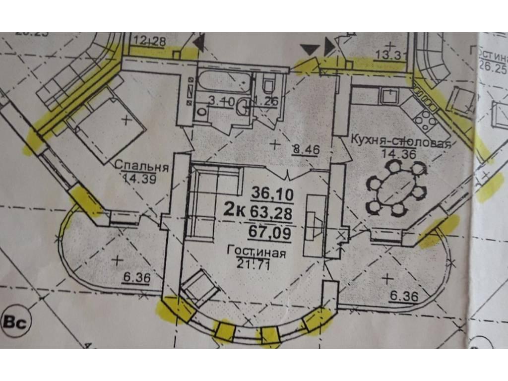 2-комнатная квартира, 75.60 м2, 100000 у.е.