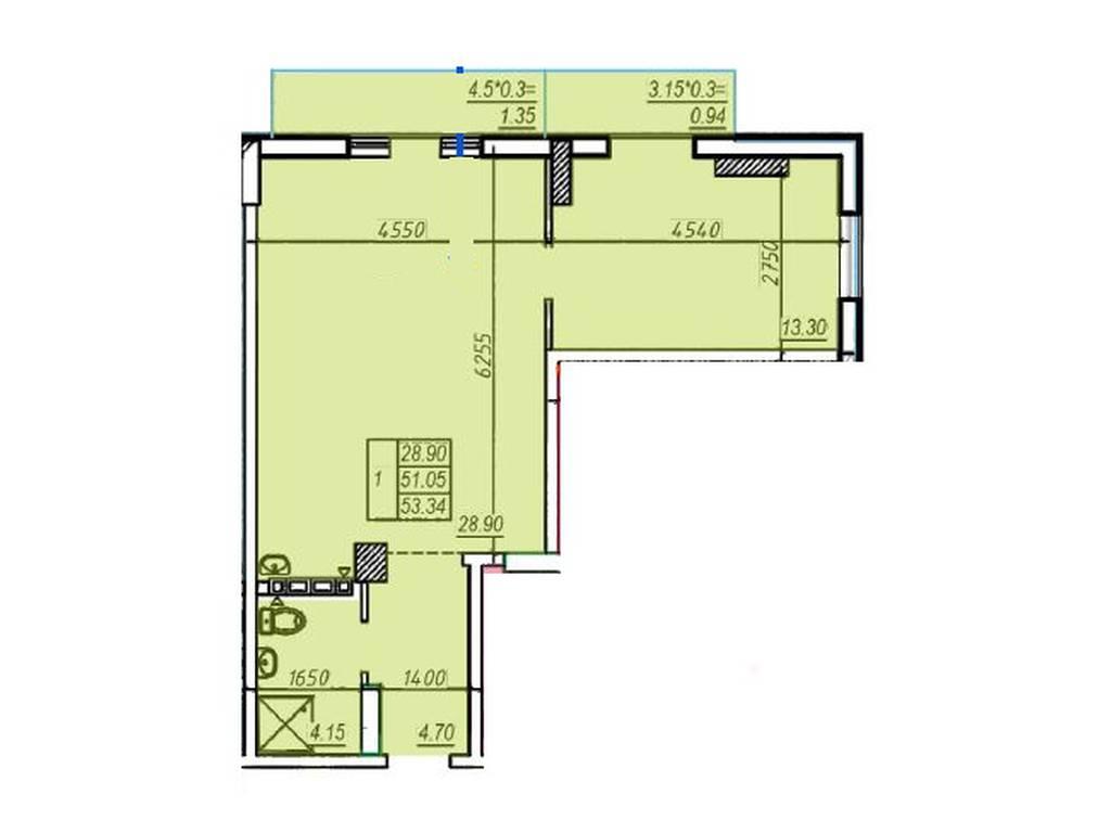 1-комнатная квартира, 53.34 м2, 66675 у.е.