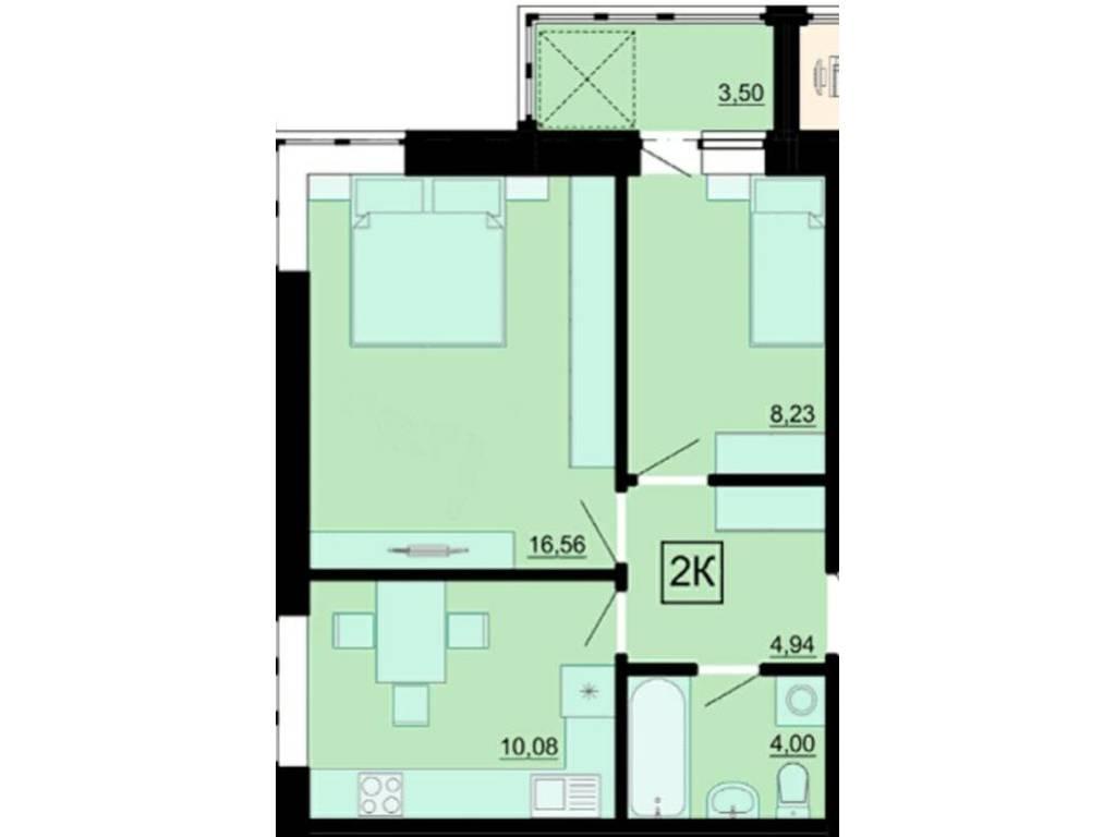 2-комнатная квартира, 47.76 м2, 38000 у.е.