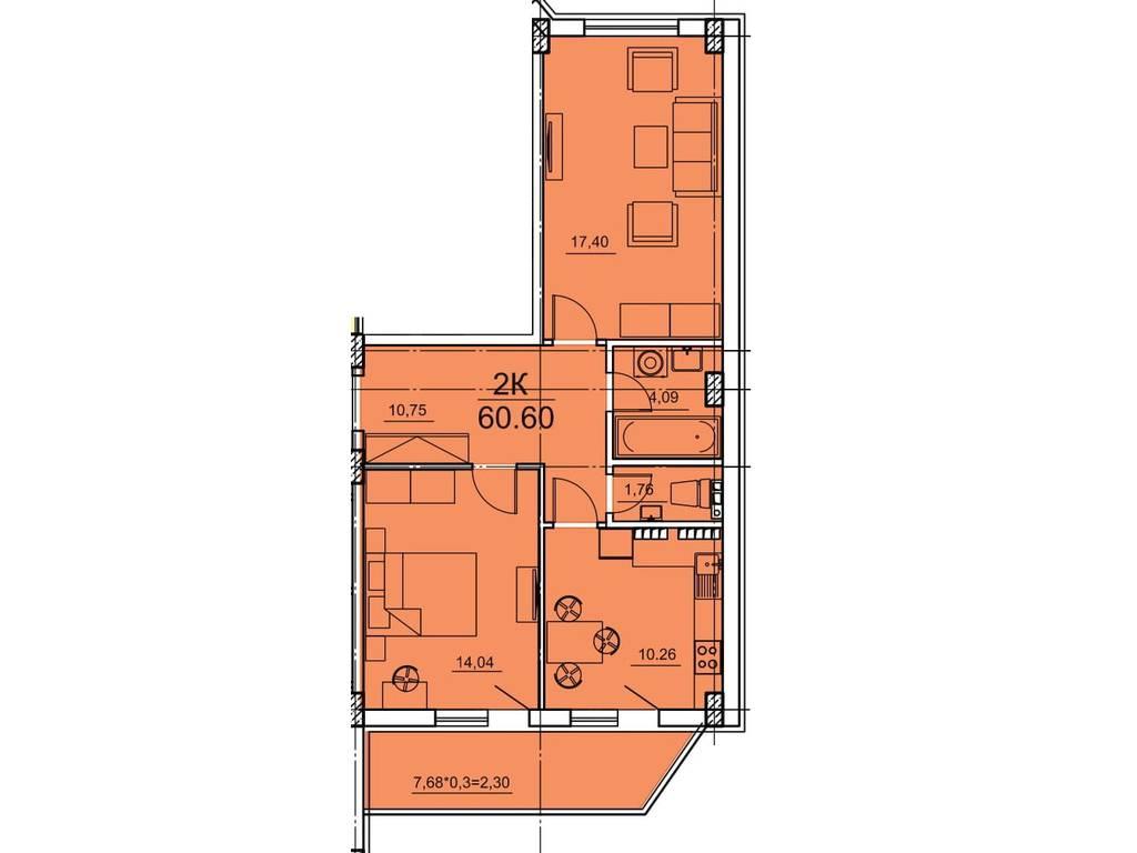 2-комнатная квартира, 60.60 м2, 39090 у.е.