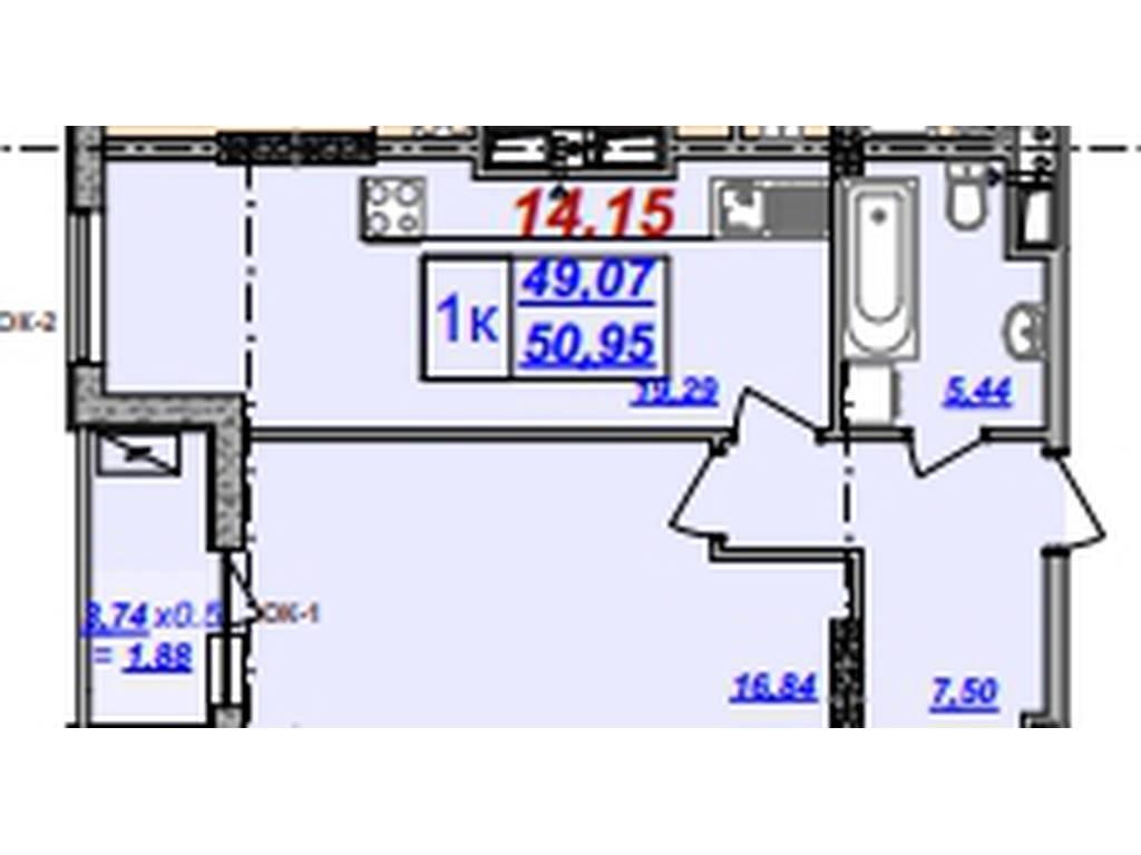 1-комнатная квартира, 50.83 м2, 50830 у.е.