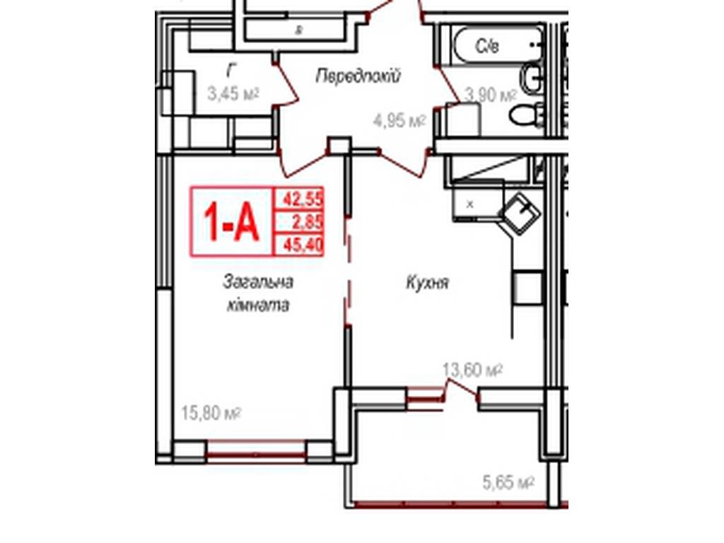 1-комнатная квартира, 45.40 м2, 36320 у.е.