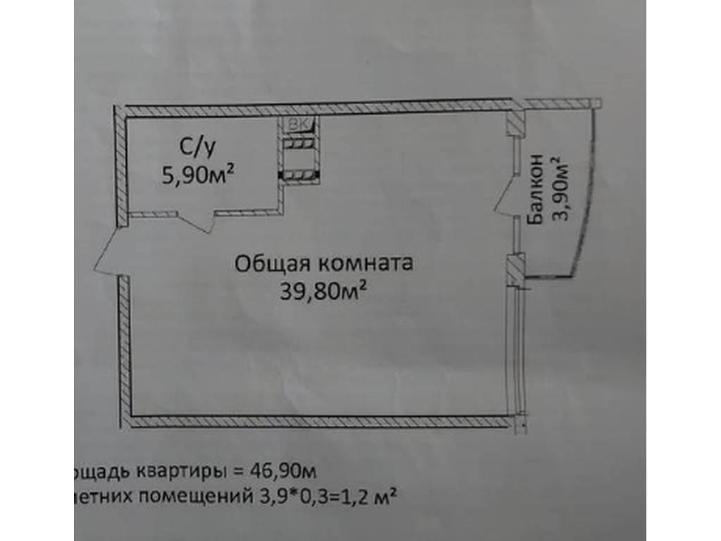 1-комнатная квартира, 48.00 м2, 52000 у.е.