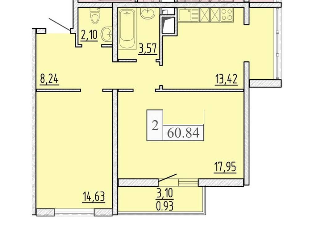2-комнатная квартира, 60.84 м2, 44717 у.е.