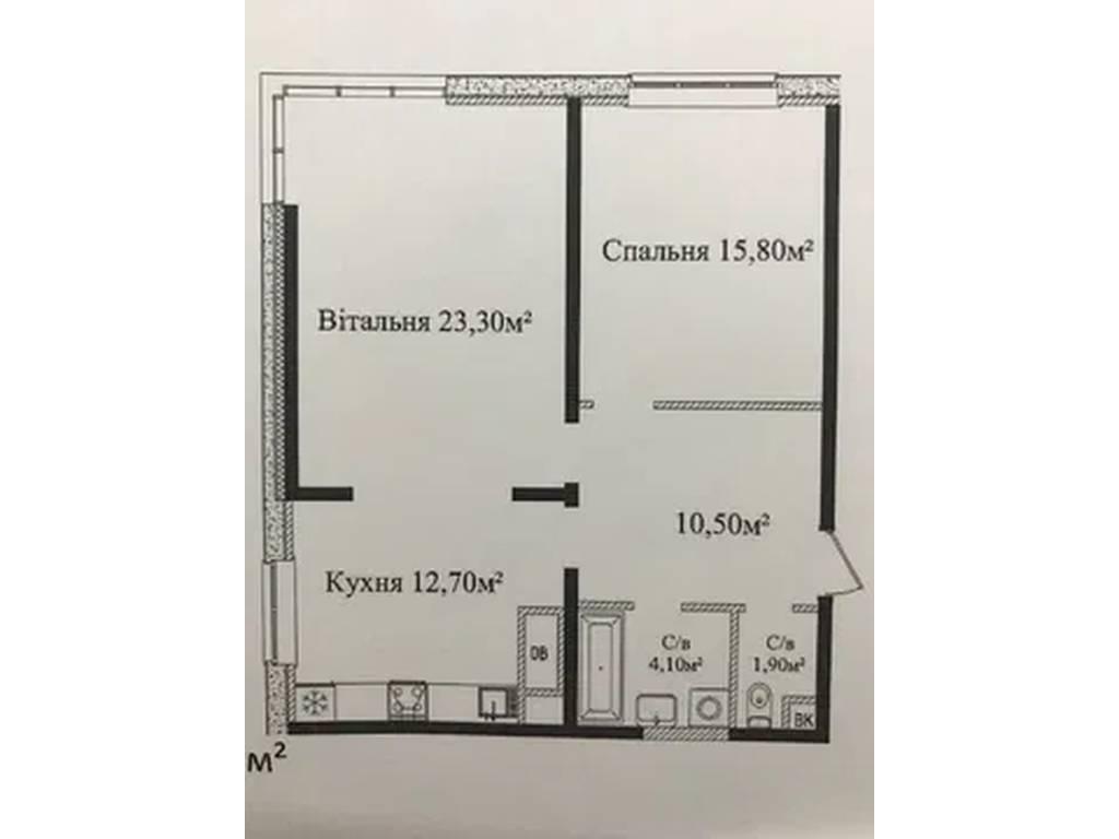 2-комнатная квартира, 68.30 м2, 62000 у.е.
