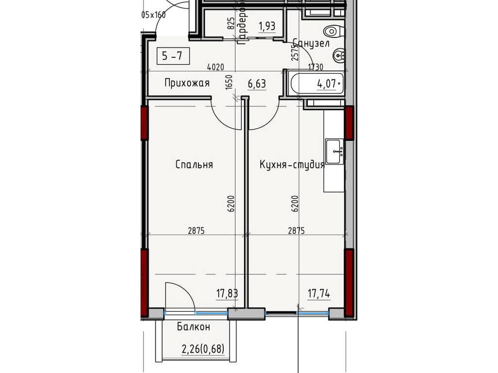 1-комнатная квартира, 48.88 м2, 53768 у.е.