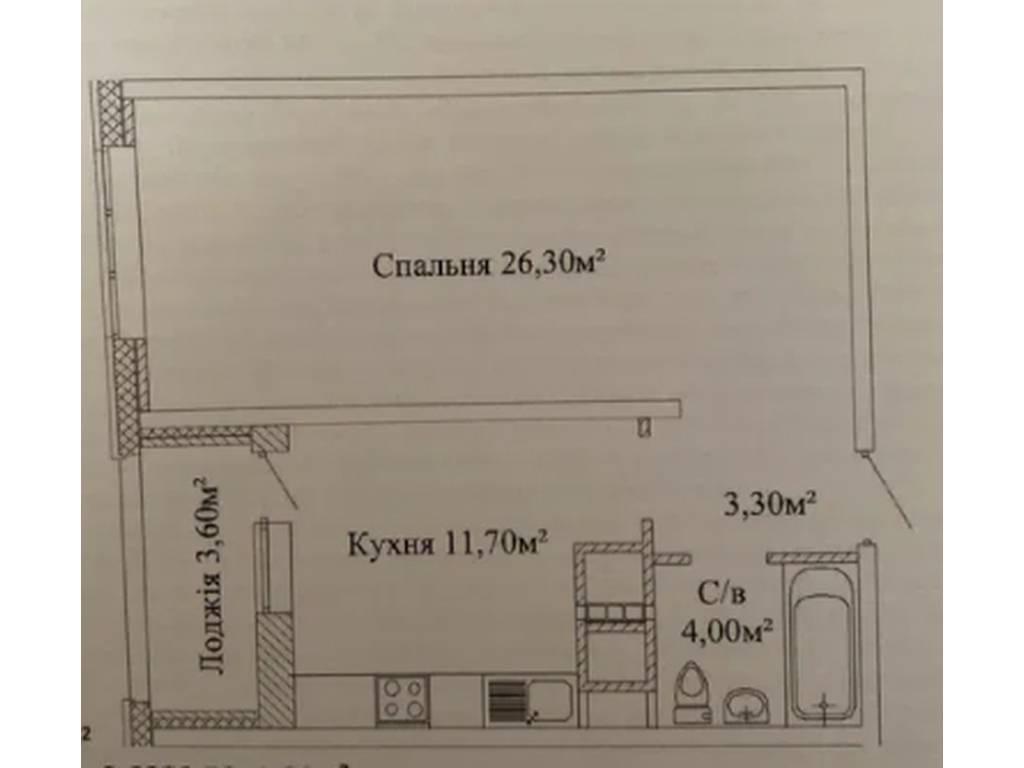 1-комнатная квартира, 47.00 м2, 41000 у.е.