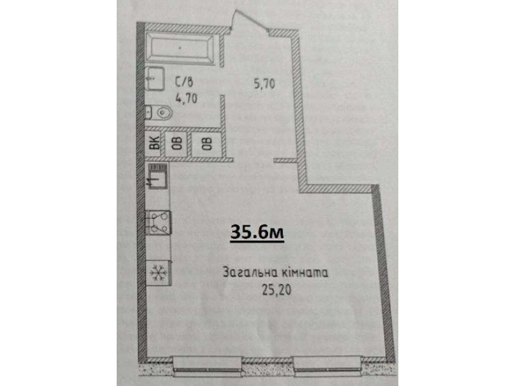 1-комнатная квартира, 35.60 м2, 41000 у.е.