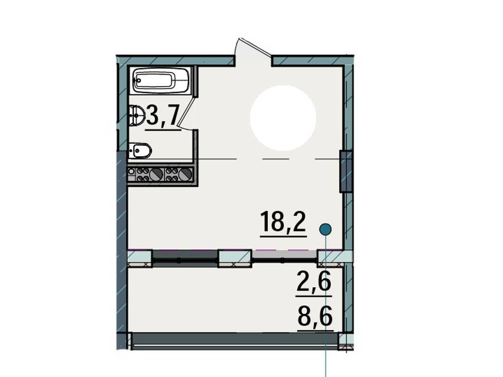 1-комнатная квартира, 24.80 м2, 23825 у.е.