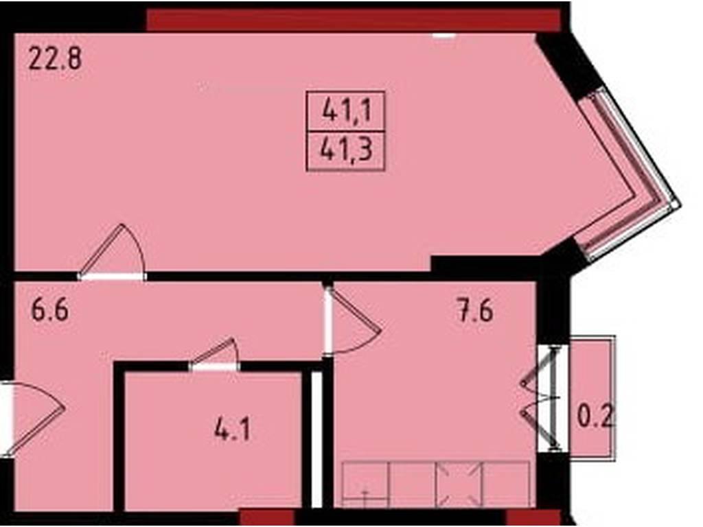 1-комнатная квартира, 41.30 м2, 25606 у.е.