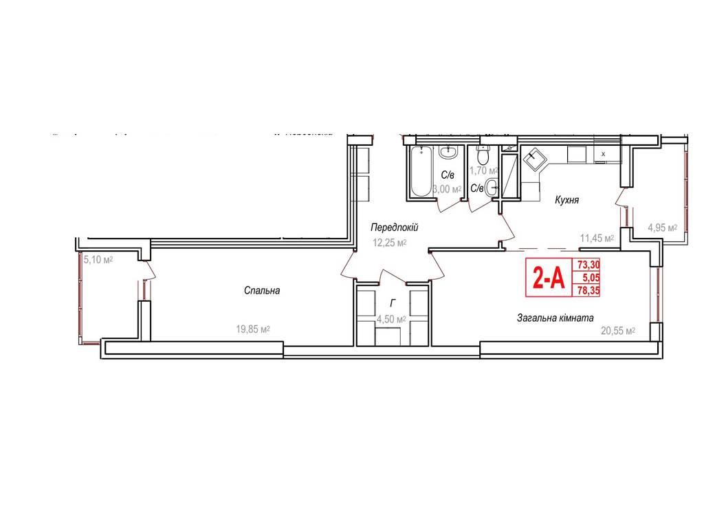 2-комнатная квартира, 78.35 м2, 49950 у.е.