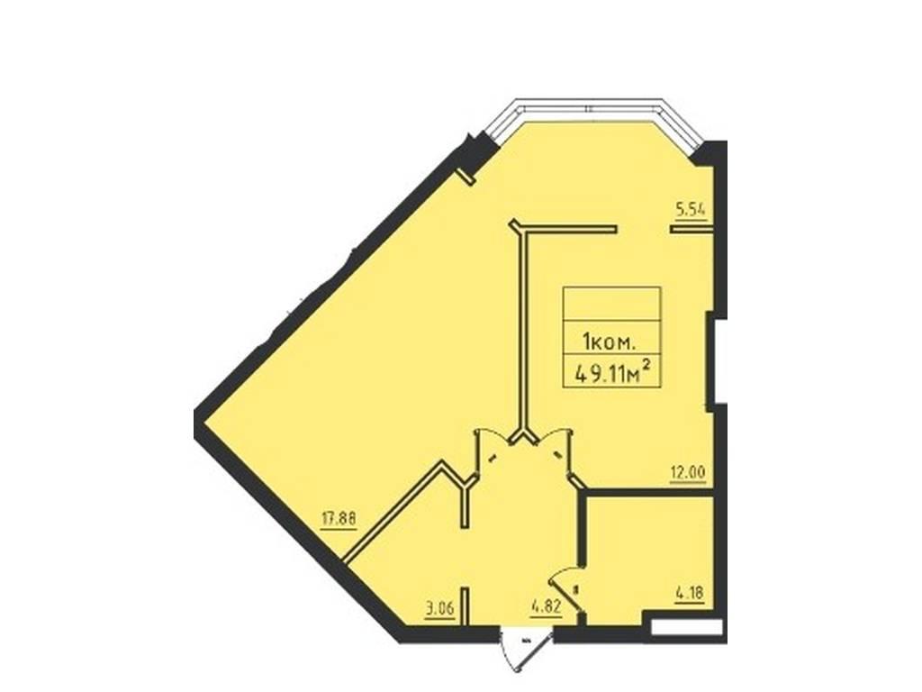 1-комнатная квартира, 50.10 м2, 38076 у.е.
