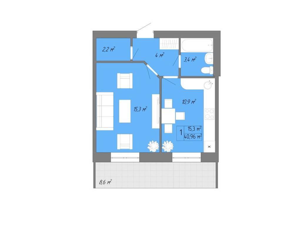 1-комнатная квартира, 45.00 м2, 31500 у.е.