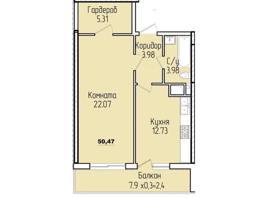 1-комнатная квартира, 50.00 м2, 58000 у.е.