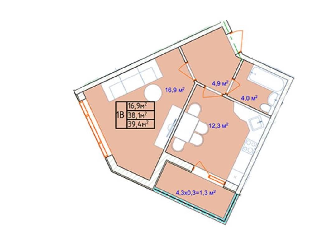1-комнатная квартира, 39.40 м2, 29000 у.е.
