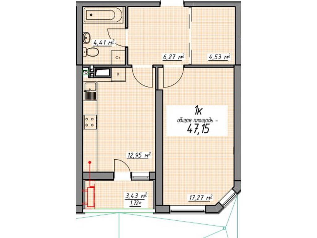 1-комнатная квартира, 47.15 м2, 44321 у.е.