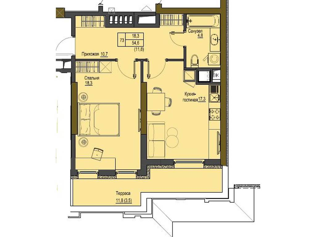 1-комнатная квартира, 47.15 м2, 101373 у.е.