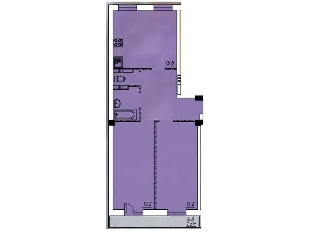 2-комнатная квартира, 62.00 м2, 47550 у.е.