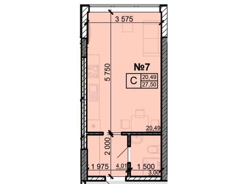 1-комнатная квартира, 24.93 м2, 16952 у.е.