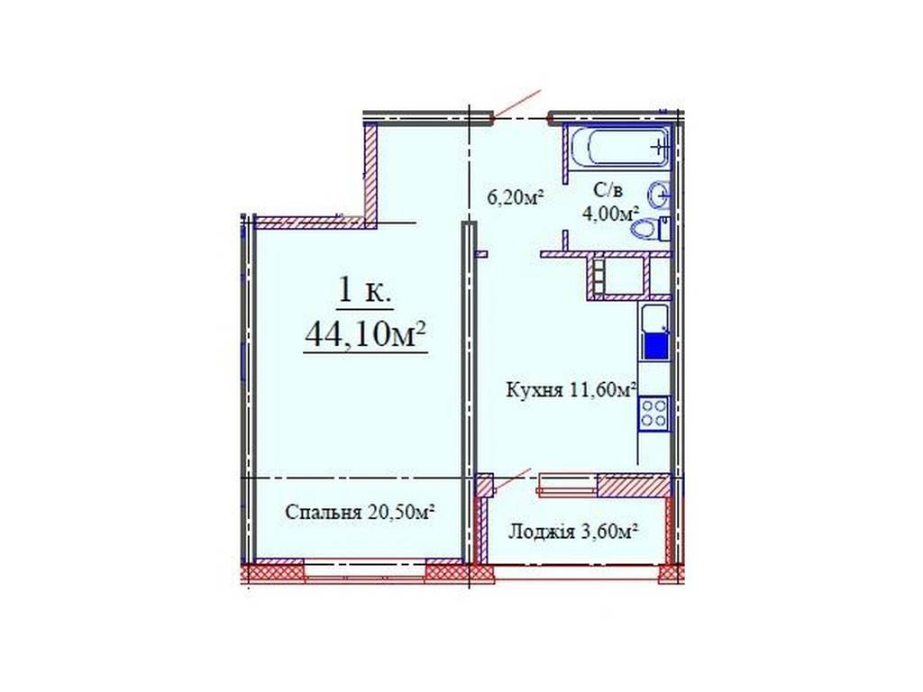 1-комнатная квартира, 44.10 м2, 38600 у.е.