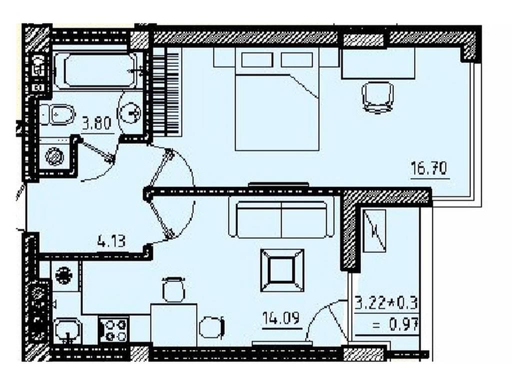 1-комнатная квартира, 40.60 м2, 48000 у.е.