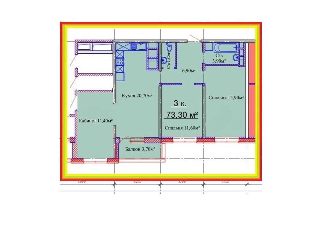 2-комнатная квартира, 73.30 м2, 66500 у.е.