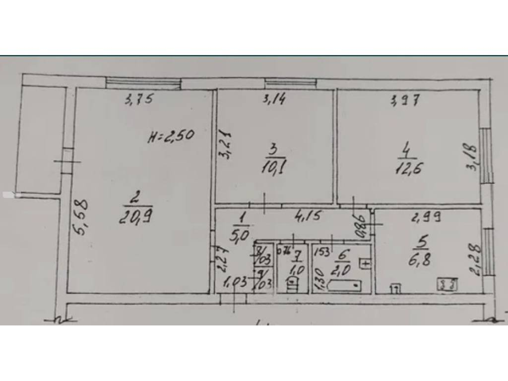 3-комнатная квартира, 61.00 м2, 57900 у.е.