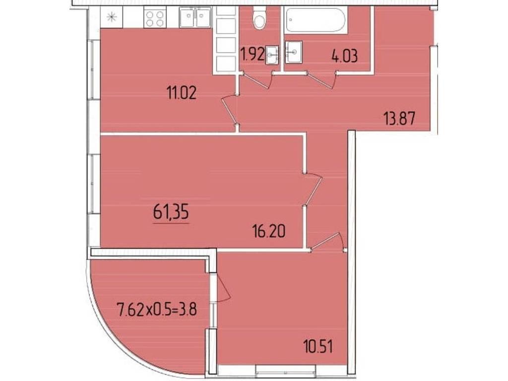 2-комнатная квартира, 61.35 м2, 51472 у.е.