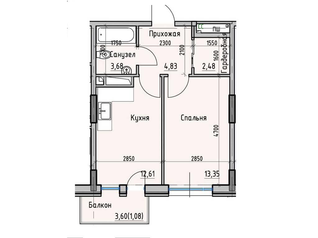 1-комнатная квартира, 38.03 м2, 32820 у.е.
