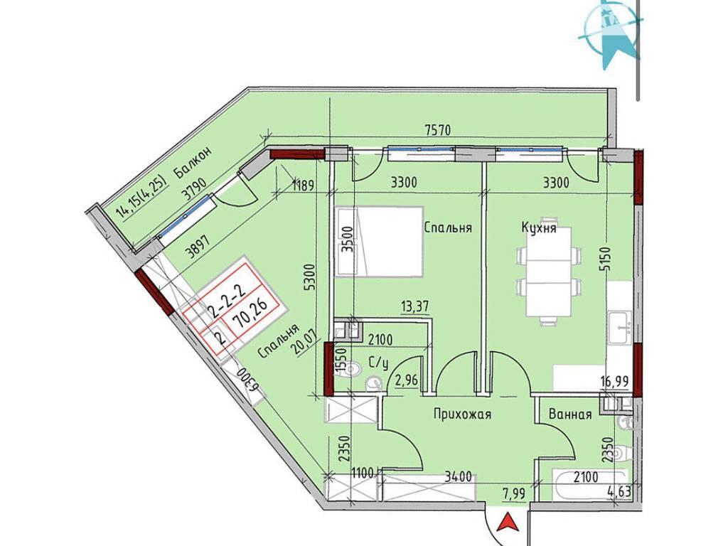 2-комнатная квартира, 68.60 м2, 89950 у.е.