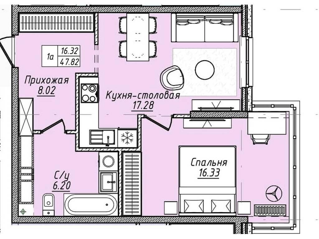 1-комнатная квартира, 47.80 м2, 45888 у.е.