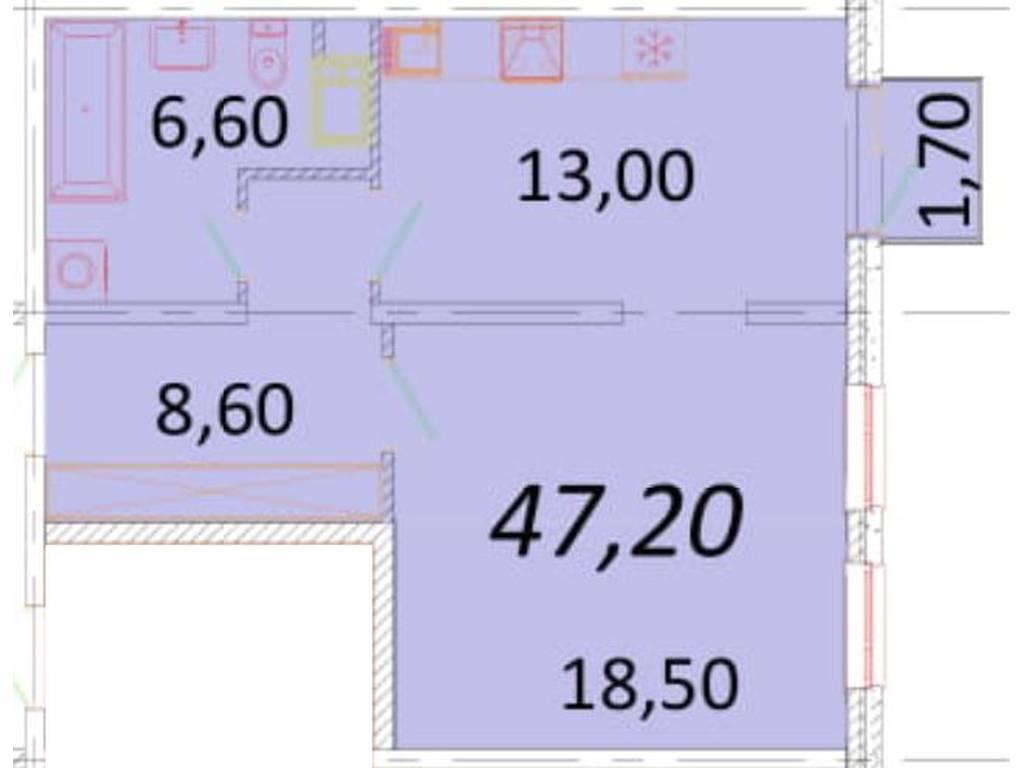 1-комнатная квартира, 47.20 м2, 47000 у.е.