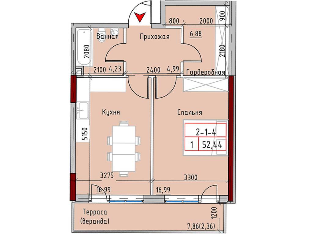 1-комнатная квартира, 59.40 м2, 74844 у.е.