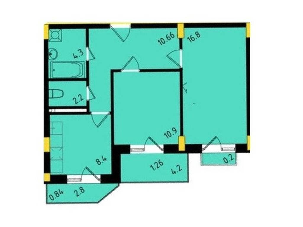 2-комнатная квартира, 55.56 м2, 49670 у.е.