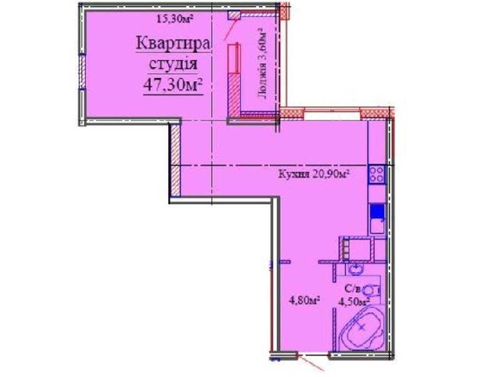 1-комнатная квартира, 47.00 м2, 39000 у.е.