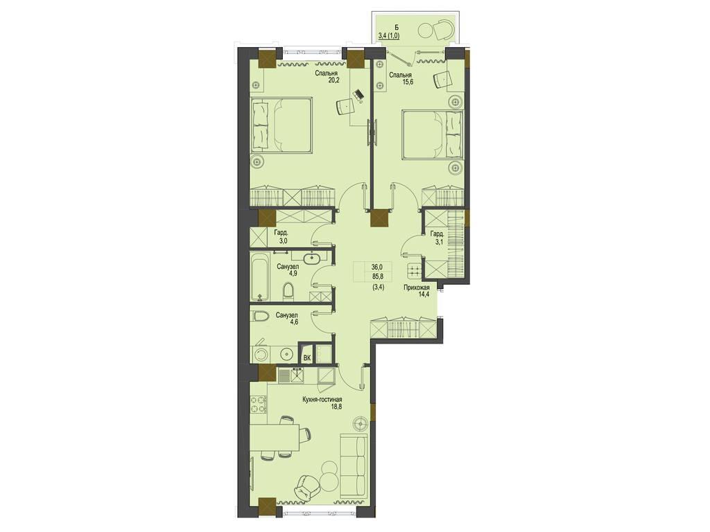 2-комнатная квартира, 85.80 м2, 111540 у.е.