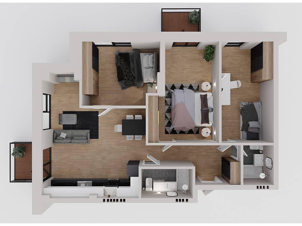 3-комнатная квартира, 89.43 м2, 94885 у.е.