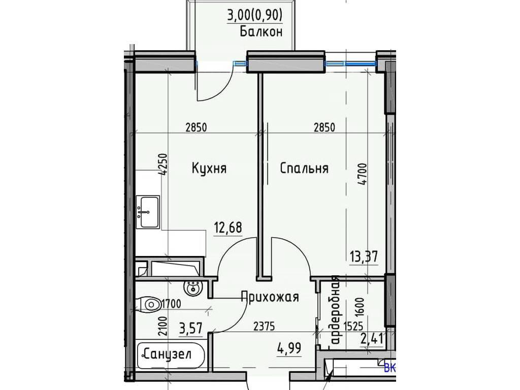 1-комнатная квартира, 37.85 м2, 33308 у.е.