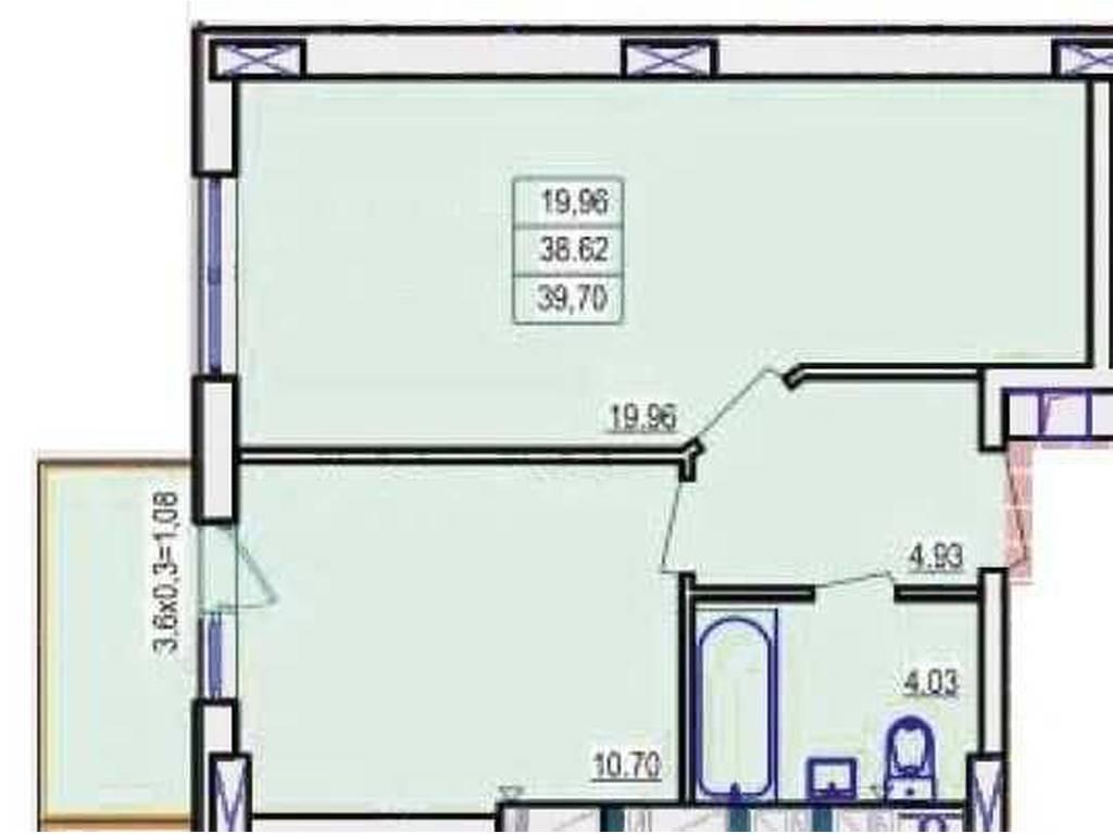 1-комнатная квартира, 40.00 м2, 32000 у.е.