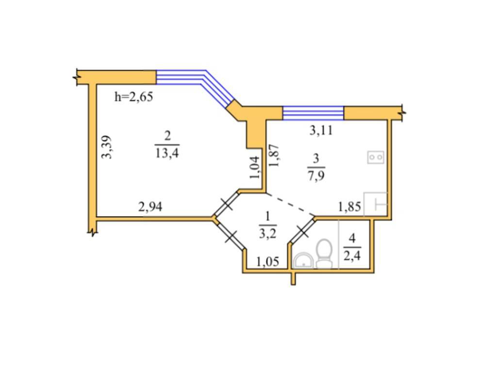 1-комнатная квартира, 26.90 м2, 33000 у.е.