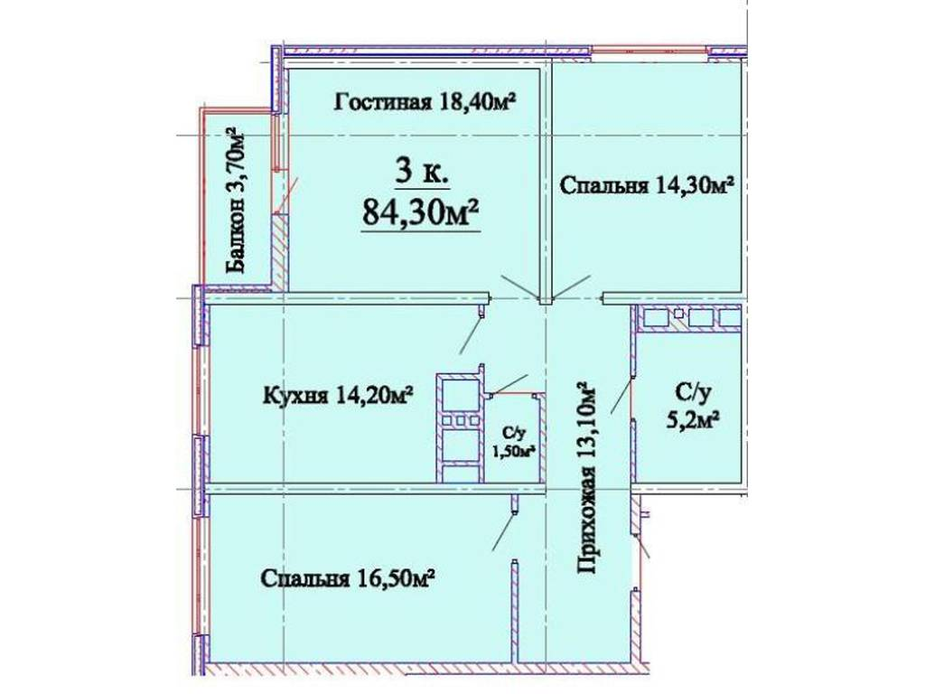 3-комнатная квартира, 84.00 м2, 70000 у.е.